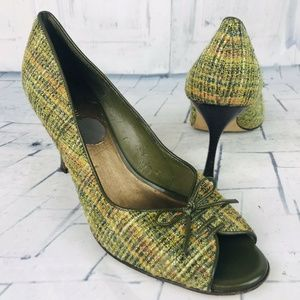 Anne Klein Green Metallic Tweed Plaid Peep Toe 8 M